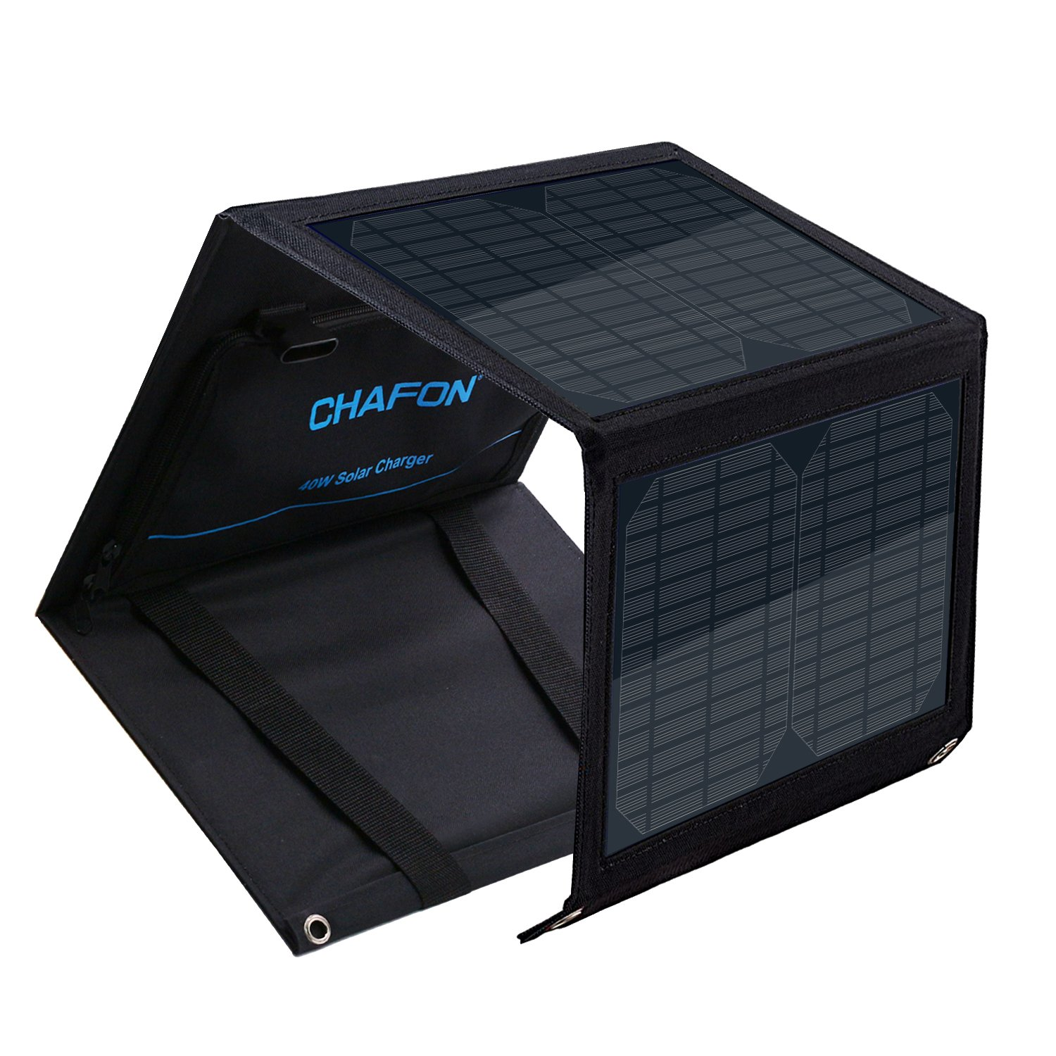 CHAFON 40W Foldable Solar Panel Charger Mono-Crystalline with 18V DC Output for Suaoki/Enkeeo/AIPER/ROCKPALS/Aeiusny/Webetop Portable Power Station,Laptop Tablet GPS,5V/2A USB Port for Camping