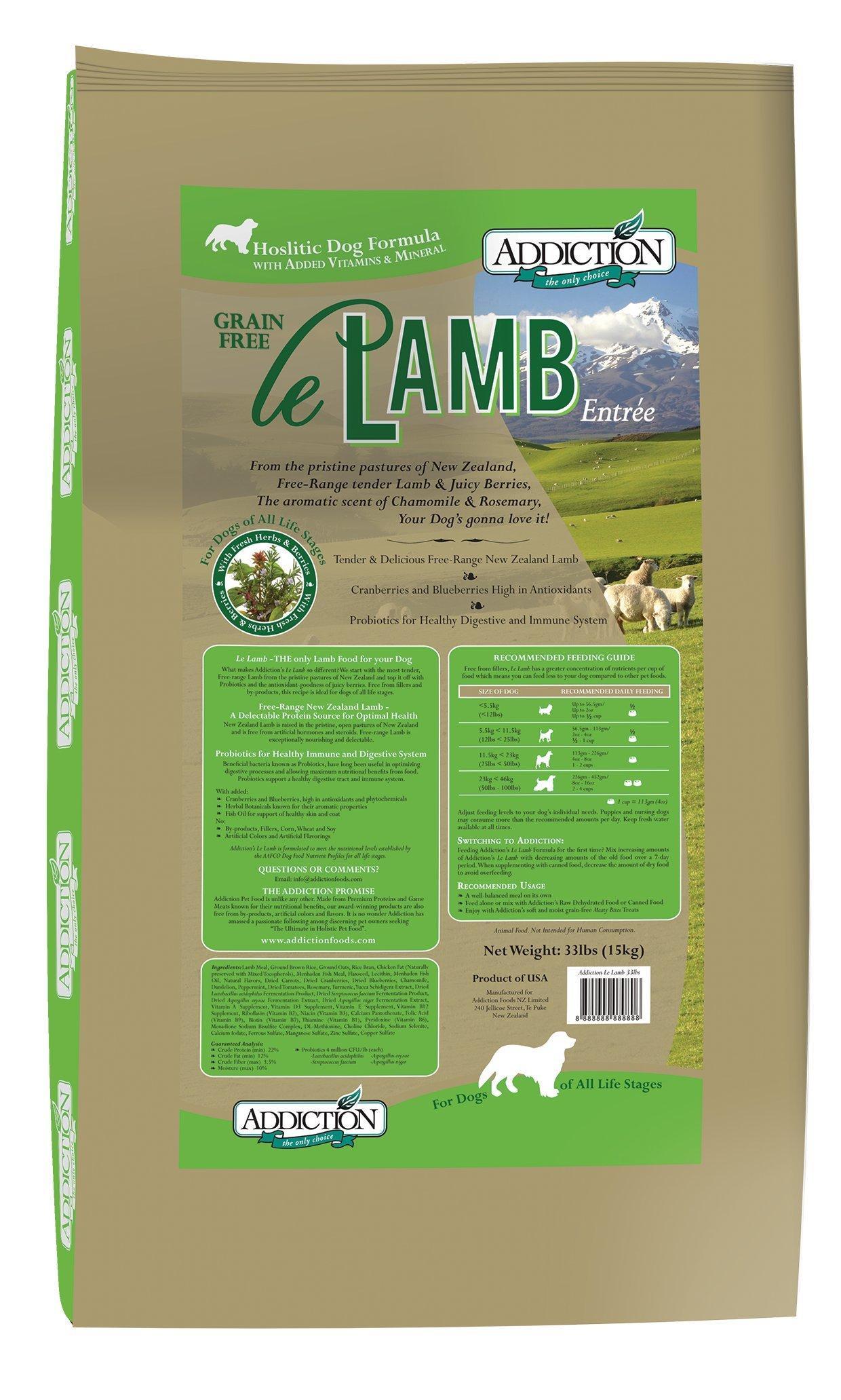 Addiction Le Lamb Grain Free Dry Dog Food, 33 lb.