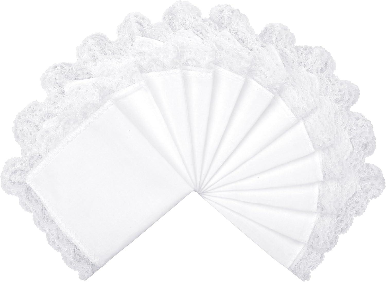 26 x 26cm Milesky Damen Taschent/ücher Hochzeit Wei/ß mit Spitze 12 St/ück ca