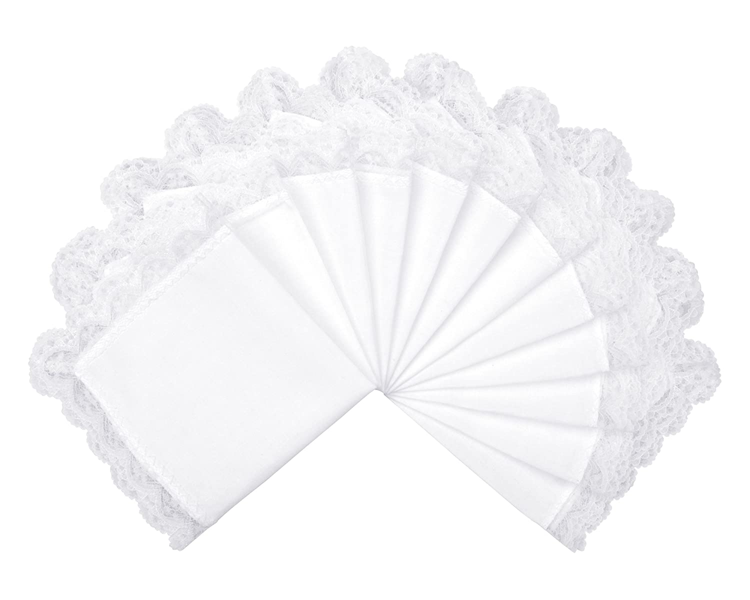 Milesky Solid White Wedding Cotton Handkerchiefs with Lace Edges Square 10 x 10 (Pack of 6)