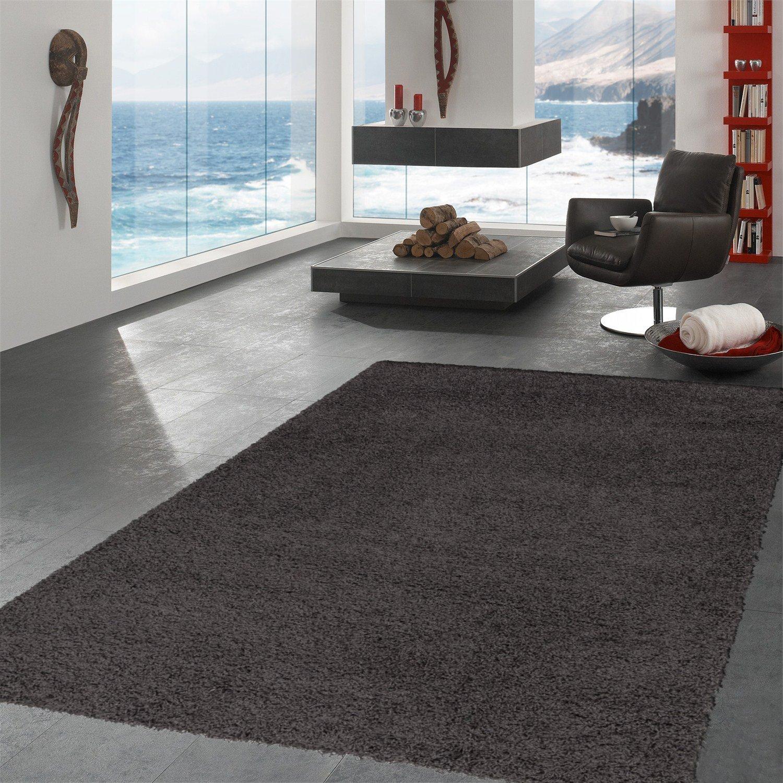 Ottomanson Soft Cozy Color Solid Shag Area Rug Contemporary Living and Bedroom Soft Shag Area Rug, Dark Grey, 7'10'' L x 9'10'' W
