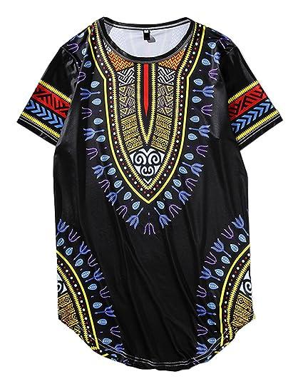 cheap for sale outlet store great fit JOLIME Shirt Unisexe Hommes Africain Chemise à Manches Courtes Dashiki  Graphique Hippy Long Tunique