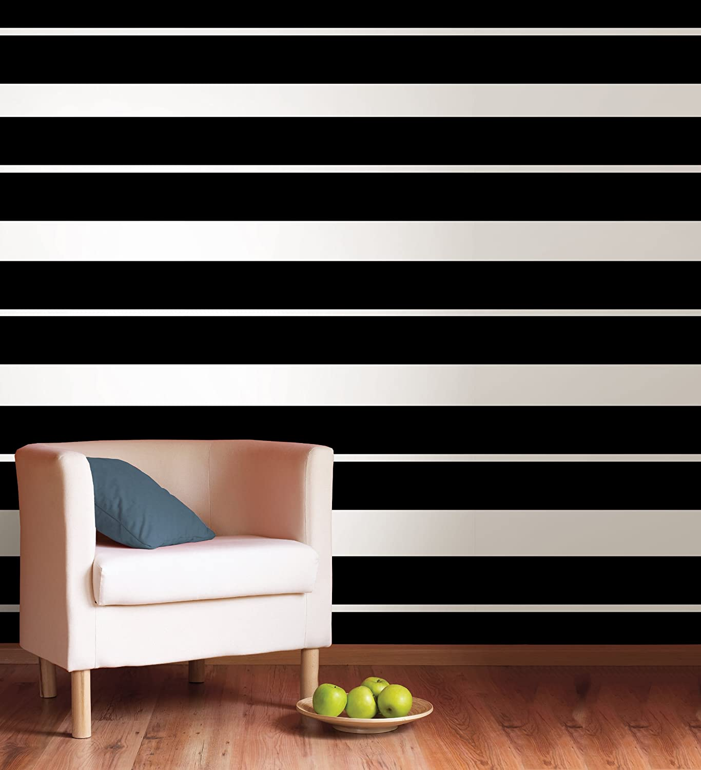 Brewster WPS90235 Wall Pops Black Jack Stripe, Single Strip, 6.5 Inch By  16 Foot   Wallpaper   Amazon.com