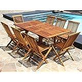 Salon de jardin en bois de teck huilé 8 pers Table rect.larg 100cm long 120/170cm + 8 chaises pliantes