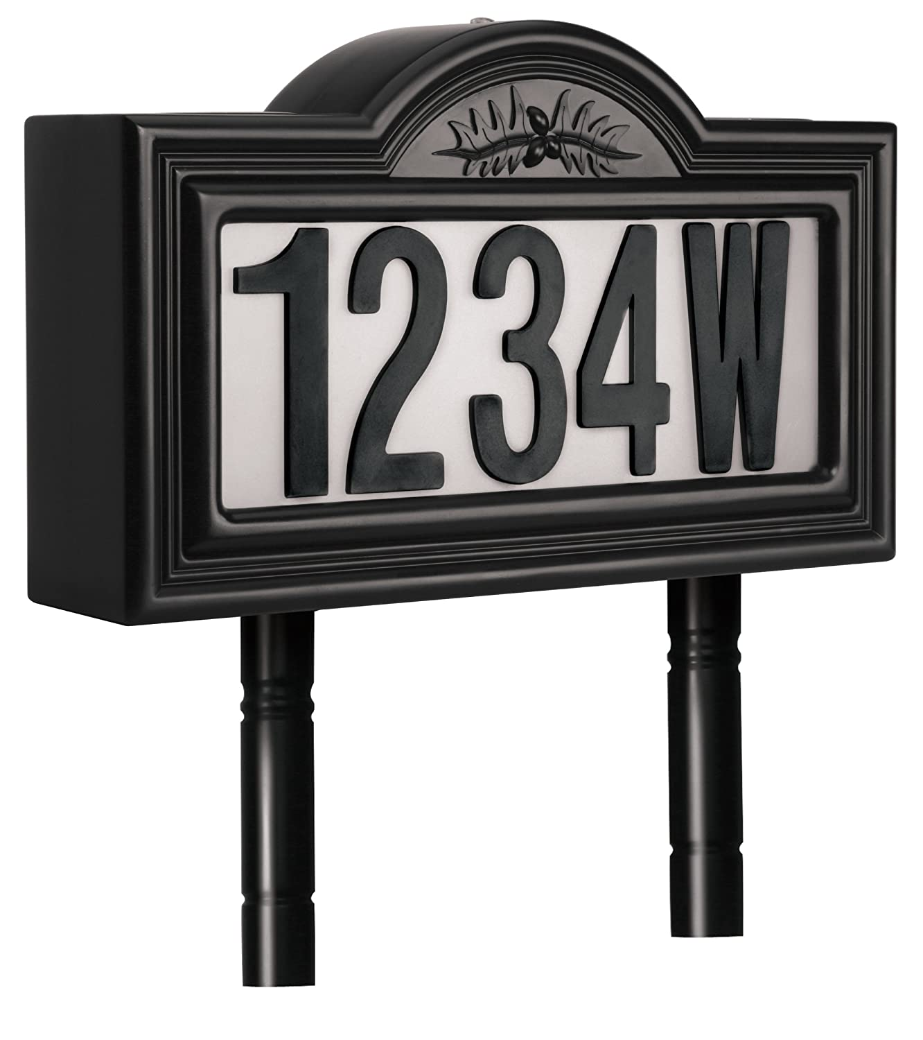 Lighted Address Sign Part - 31: Pine Top 508-0011 Plastic Solar-Powered LED Lighted Address Sign, Black -  Led Household Light Bulbs - Amazon.com