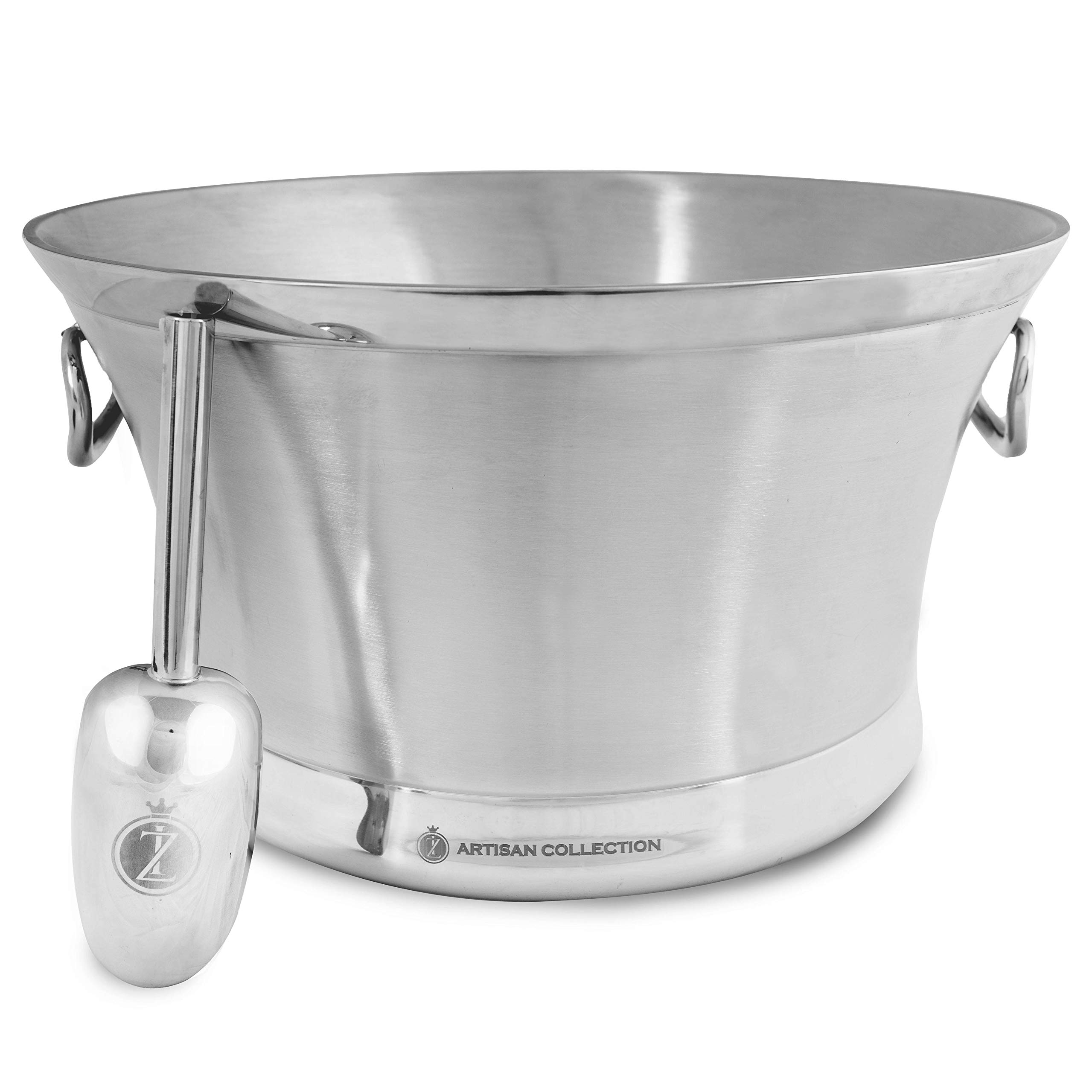 Large Beverage Tub with Ice Scoop: Double Wall Insulated Ice Bucket of Premium Stainless Steel. Party Drink Chiller for Champagne, Wine, and Beer. Metal Beverage Tubs and Buckets for Parties.
