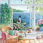 Dimensions - Kit de Punto de Cruz, diseño de Playa con Tranquilidad, 16 Puntos, Tela Aida Azul, 8 x 8 Pulgadas
