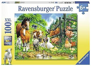 Puzzle 100 Teile XXL Spiel Deutsch 2018 Versammlung der Tiere Geduldspiel Puzzles