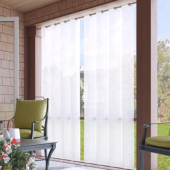 132x215cm Cortinas para Exteriores con Ojales, Color Blanco, Resistentes al Viento, Resistentes al Agua, Resistentes a la harina, para jardín, balcón, casa de Playa ...