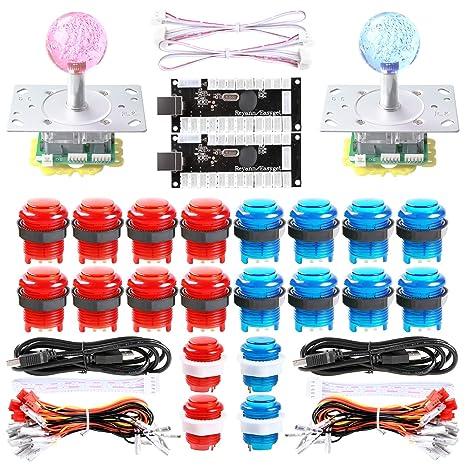 Dashtop LED Arcade DIY Parts 2x Zero Delay USB Encoder + 2x 2/4/8 Way LED  Joystick + 20x LED Illuminated Push Buttons for Mame Windows System &