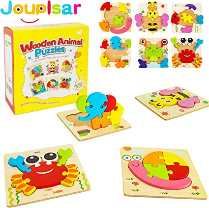 3 Year Old Boys 2 6 PACK Animal Jigsaw Wooden Puzzles For Kids Fine Motor Skill Learning Toys for 1 Preschool Educational Game for Kids /& Toddlers Wooden Puzzles for Toddlers Baby Infants Girls