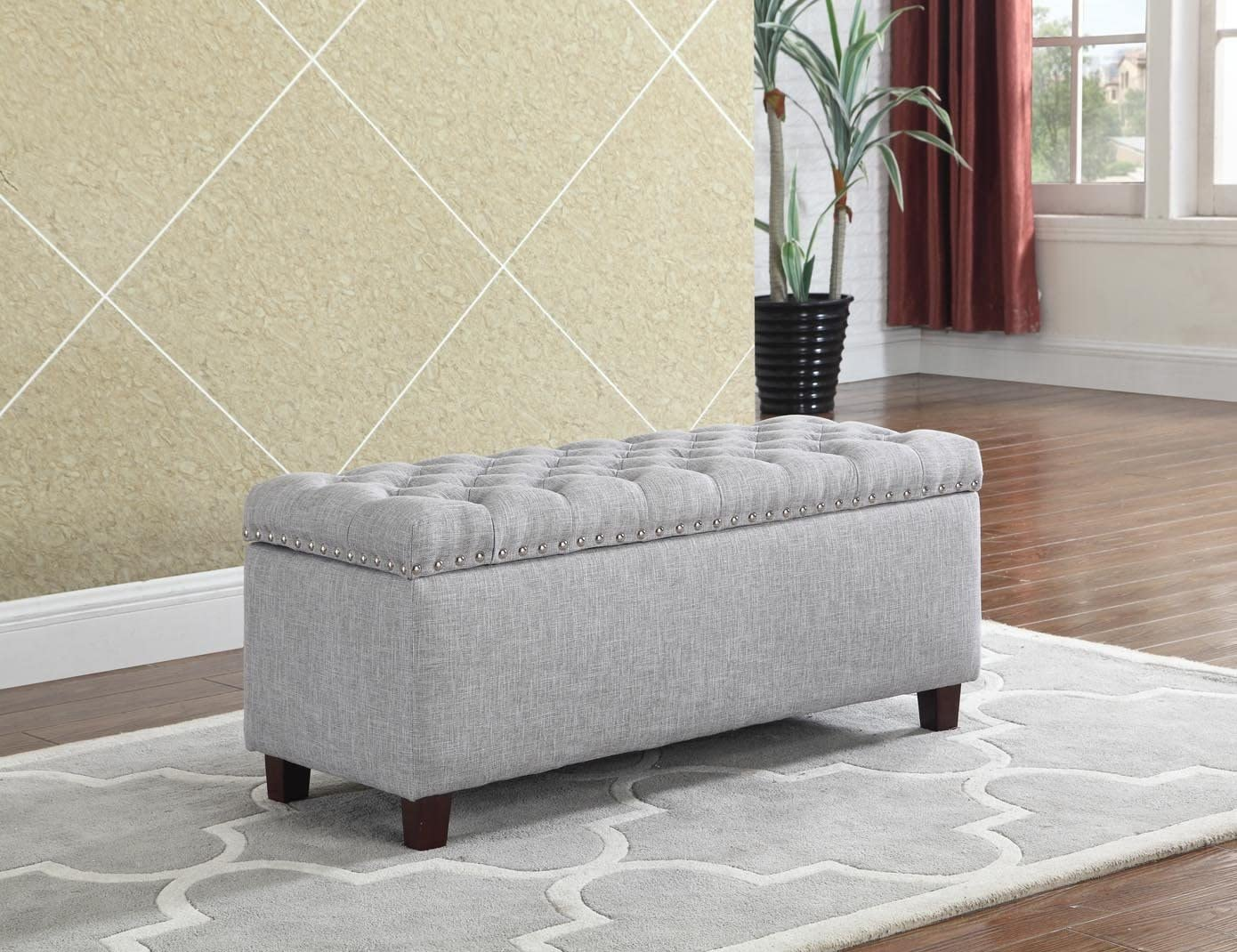 NHI Express Buttontufted Storage Ottoman Not Applicable, 42 W x 17.5 D x 18.5 H, Gray
