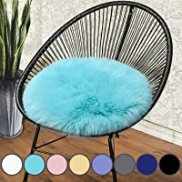 junovo Premium Soft Round Faux Fur Sheepskin Seat Cushion Chair Cover Plush Area Rugs for Bedroom, 14 x 14inch, Light Blue