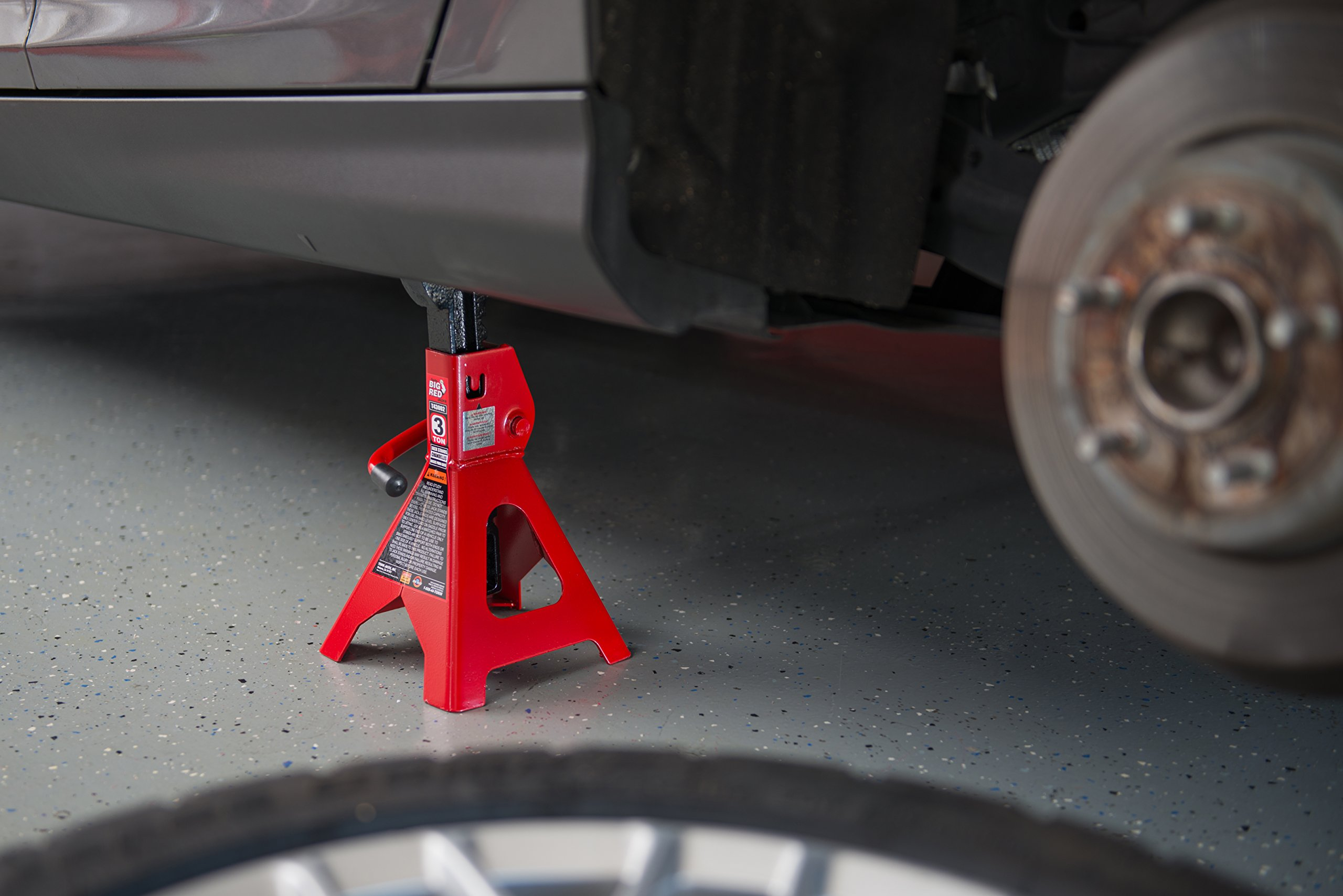 Torin Big Red Steel Jack Stand: 3 Ton Capacity, Single Jack