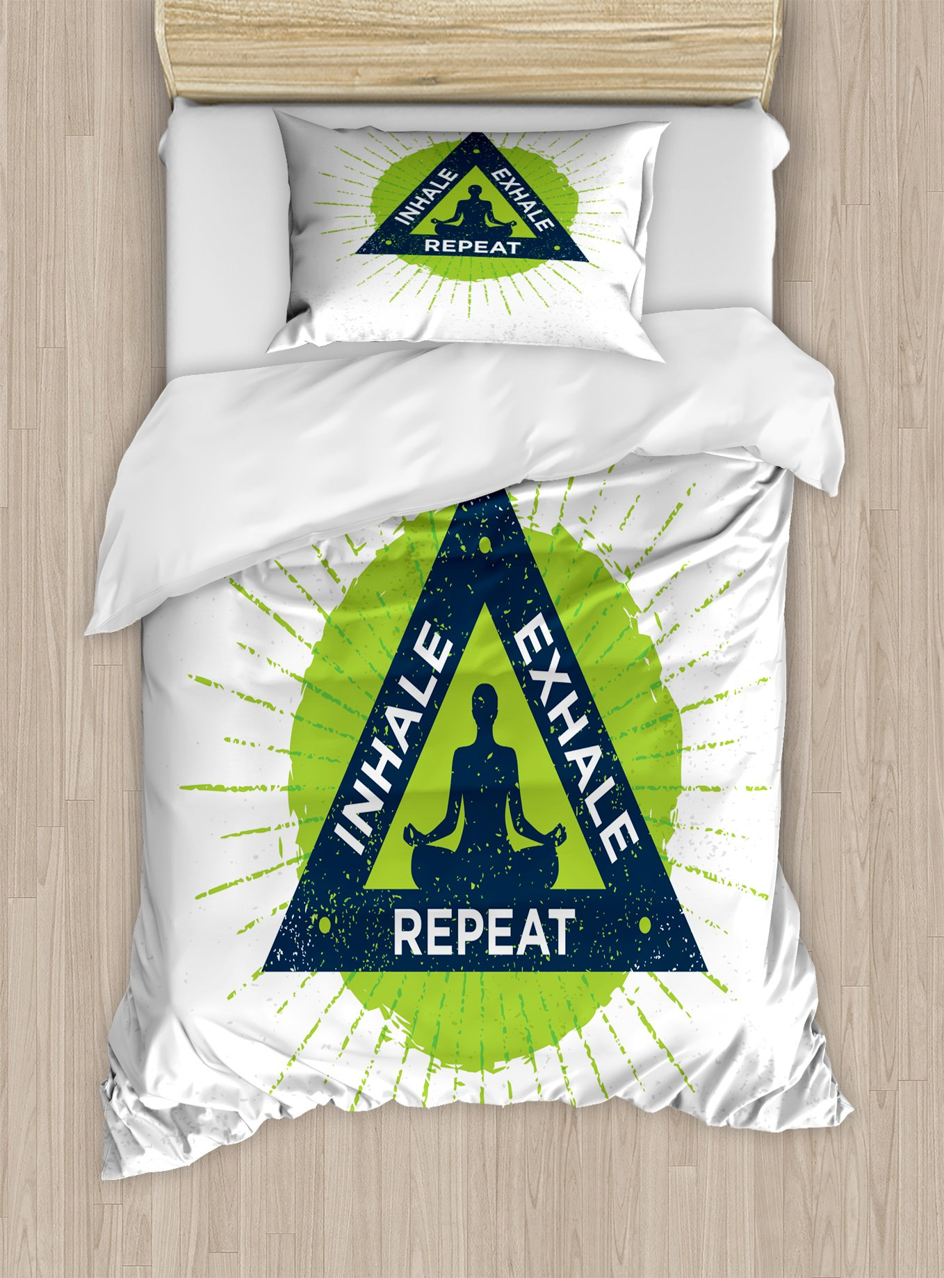 Ambesonne Inhale Exhale Twin Size Duvet Cover Set, Spa Yoga Retreat Theme Meditating Woman Ancient Practice Philosophy, Decorative 2 Piece Bedding Set with 1 Pillow Sham, Lime Green Dark Blue