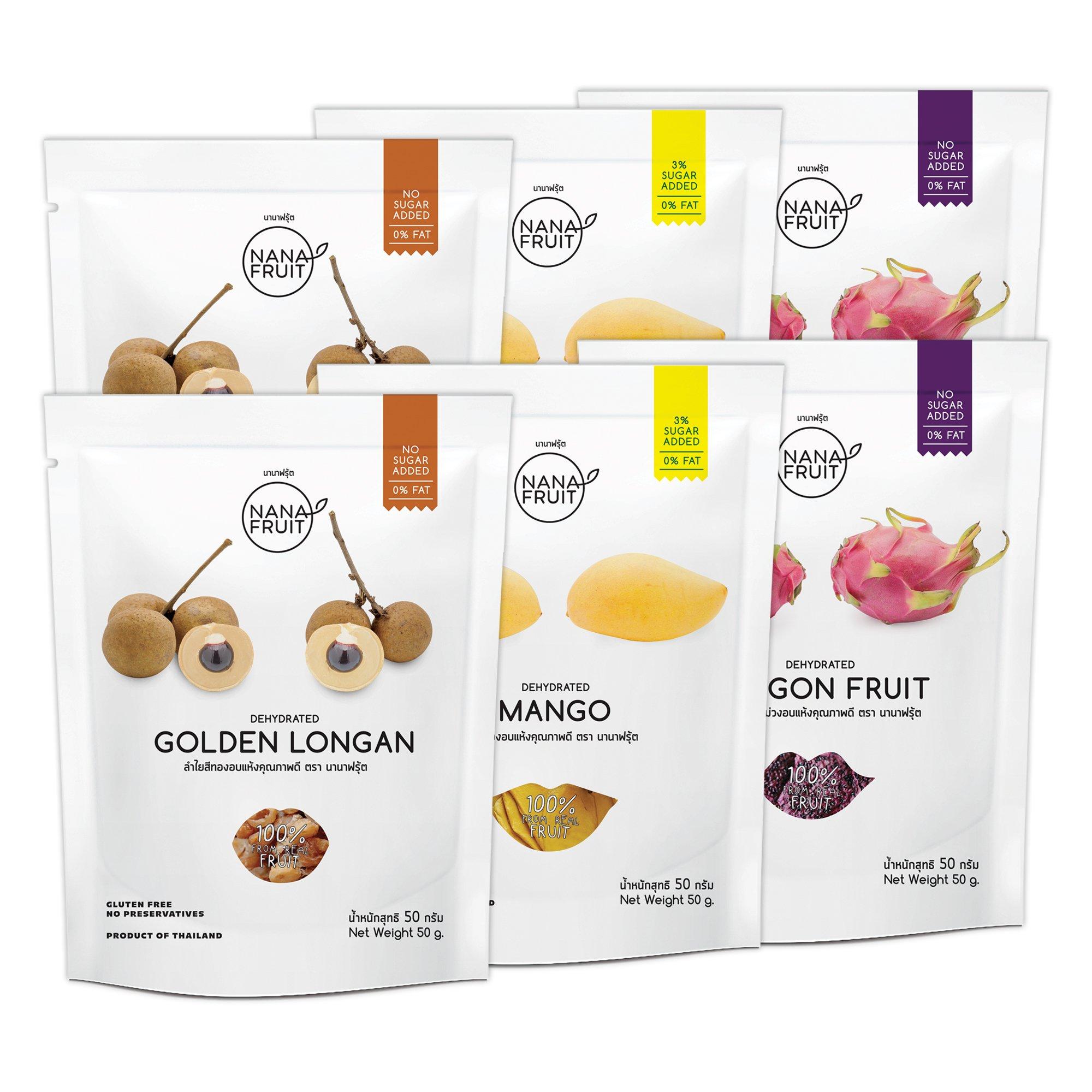 Nana Fruits Dried Longan Pack 50g. (2 Pack) Mango Pack 50g. (2 Pack) and Dragon Fruit Pack 50g. (2 Pack)