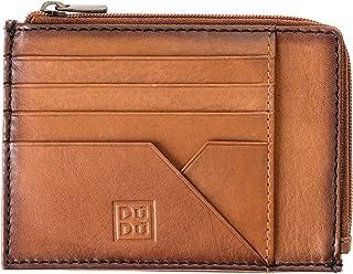 Bustina portamonete documenti carte di credito uomo in pelle con lampo DUDU Marrone chiaro 8031847158458