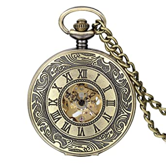 Avaner Reloj de Bolsillo Steampunk Vintage Reloj Mecanico Bronce de Flores Grabadas, Reloj de Números Arabigos Romanos, Buen: Amazon.es: Relojes