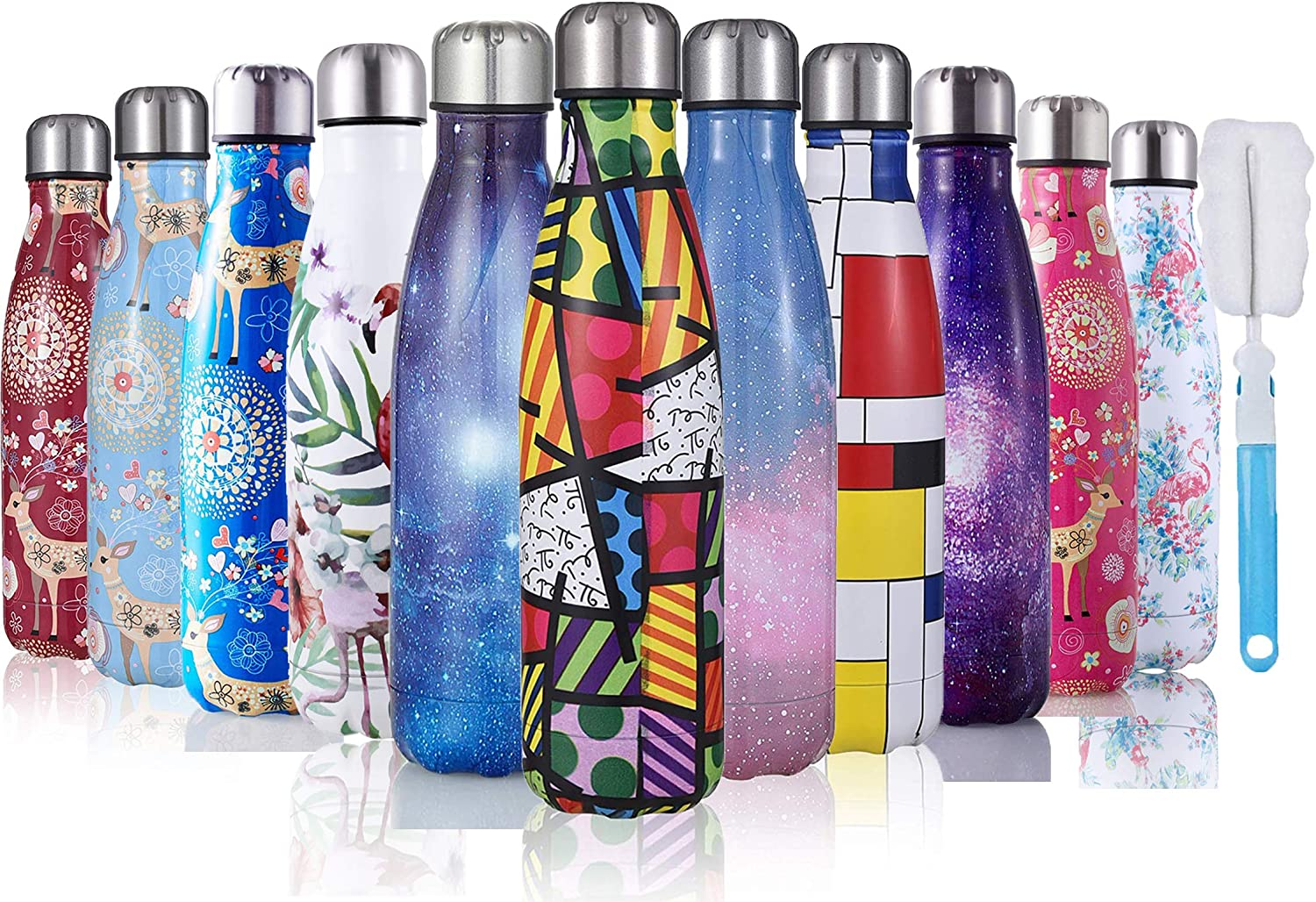 JOGVELO Stainless Steel Vacuum Insulated Water Bottle 17oz with Cleaning Brush, Double Walled Cola Shape Thermos, Blue Starry Sky
