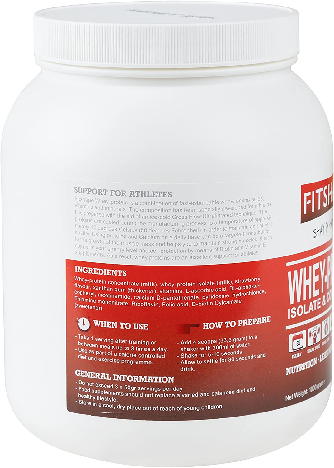 FITSHAPE Whey Protein Powder Isolate with an Amazing Taste – for Muscle Building – Fast Recovery – Weight Loss and a Great Meal Replacement ...