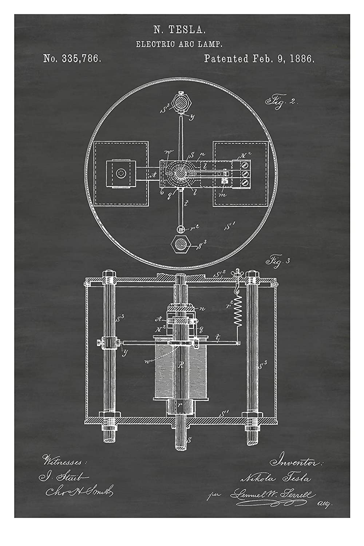 "1886 Electric Arc Lamp Nikola Tesla Patents Canvas Art Poster 20/""x24/"""