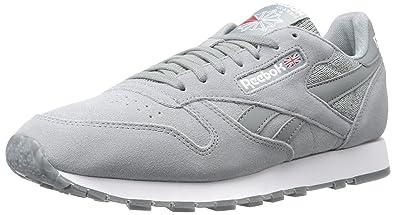 34c96ddaefe26 Reebok Men s CL Leather NM Fashion Sneaker Flint Grey White 7.5 ...