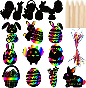30 PCS Easter Rainbow Magic Scratch Art Ornaments - Easter Crafts Kit for Kids - Easter Eggs Bunny Chick Hanging Ornaments Decoration for Home Tree Classroom Decor