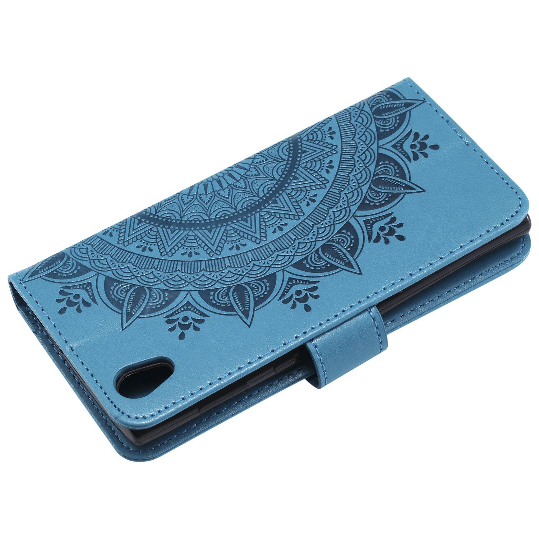 Bookstyle Motif de gaufrage Housse Imprim/é en PU Cuir Case /à Rabat Coque de Protection Portefeuille Cover avec Verre Tremp/é Boloker Coque Compatible Sony Xperia XA2 Marron