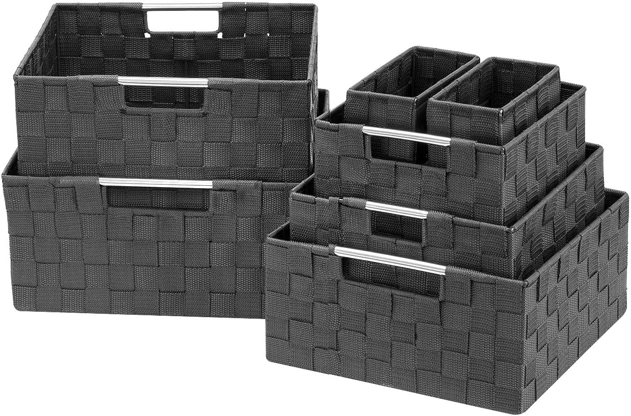Sorbus Storage Box Woven Basket Bin Container Tote Cube Organizer Set Stackable Storage Basket Woven Strap Shelf Organizer Built-in Carry Handles (7 Piece - Grey)