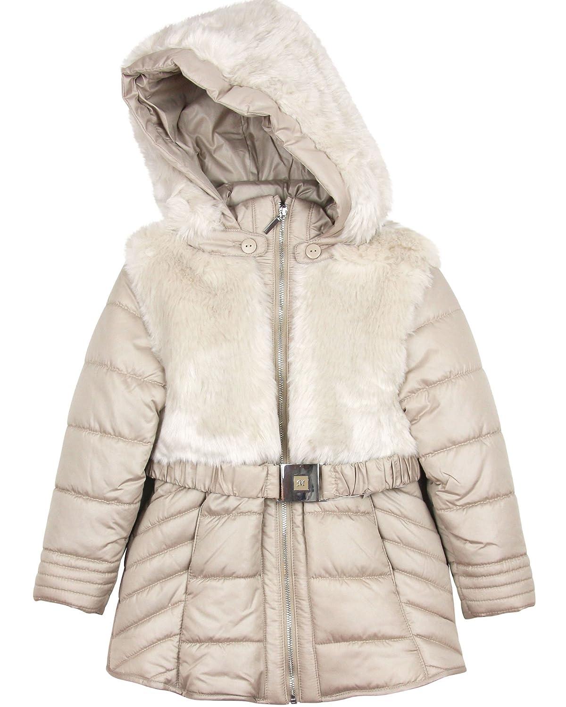 Amazon.com: Mayoral Girl's Champagne Padded Fur Coat (8): Clothing