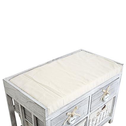 H x L x P RE4387 48 cm x 62 cm x 37 cm - Art Rebecca Mobili Banc Coffre de Rangement 2 Tiroirs Banc en Bois Blanc Gris Shabby Entr/ée Cuisine