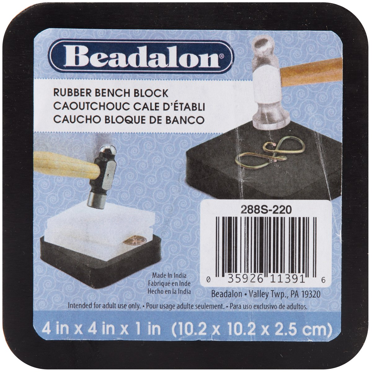 Beadalon Rubber Bench Block for Jewelry Making, 4 by 4-Inch, Black 228S-220