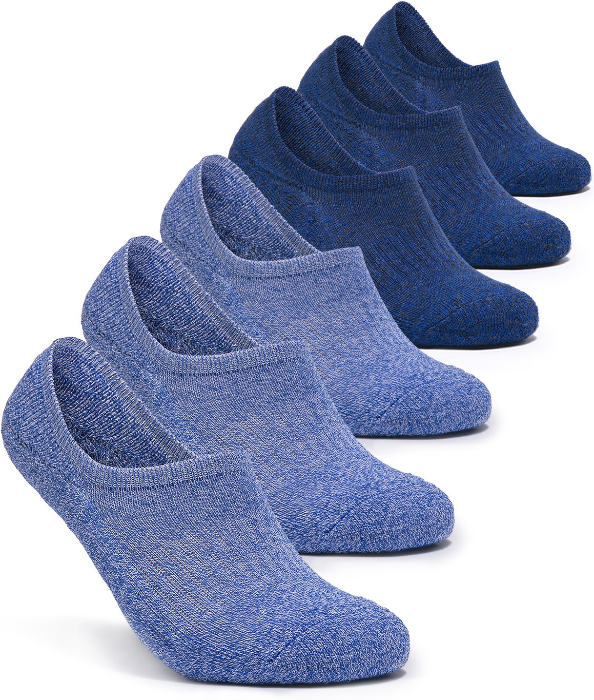 Tesla TM-MZS07-LBB_Medium 6-Pairs Unisex No-Show Casual Fashion Socks w Heel Silicone Grips MZS07