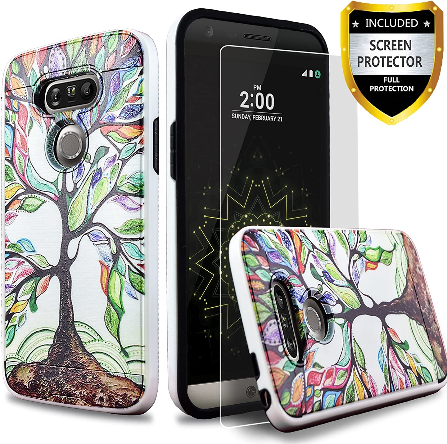 LG G5 Case, Dual Layers Phone Cover Bundled with [HD Screen Protector] Hybird Shockproof and Circlemalls Stylus Pen (Lucky Tree)