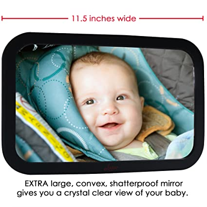 Baby Backseat Mirror For Car - Largest and Most Stable Mirror with Premium Matte Finish - Crystal Clear View of Infant