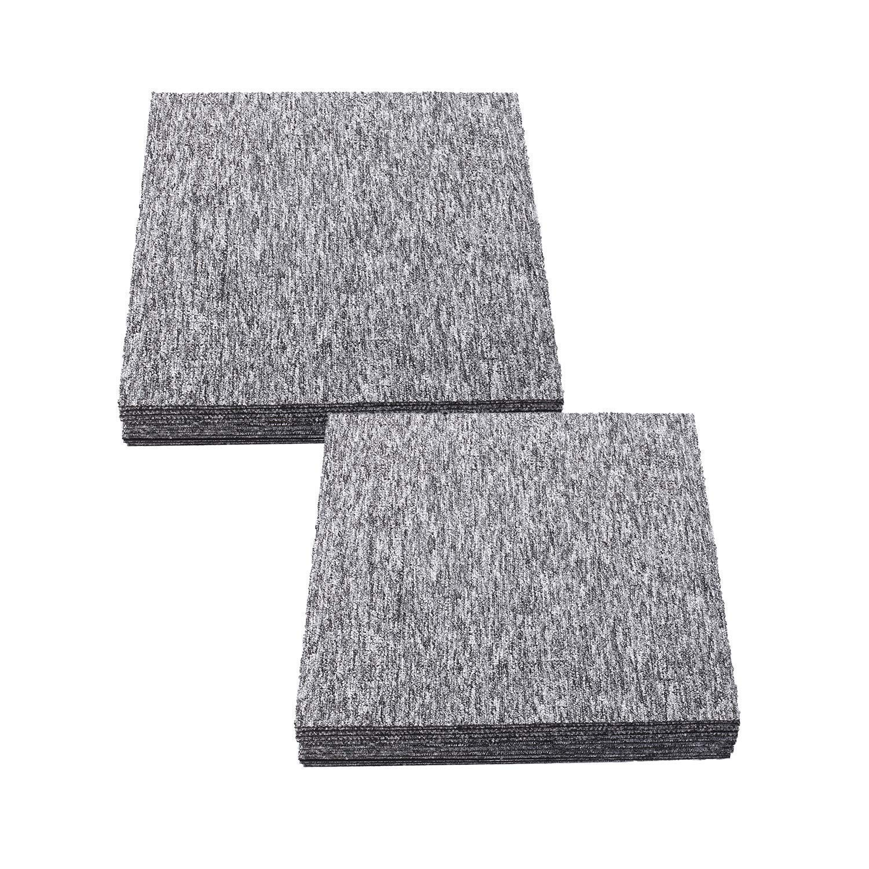 20PCS Heavy Duty Carpet Floor Tiles with 1 Tape 20x20 inch DIY Carpe Tiles for Residential & Commercial Squares Flooring Use(Light Gray)