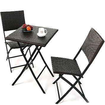 Grand Patio Conjunto de mesa y sillas plegables de mimbre para ...