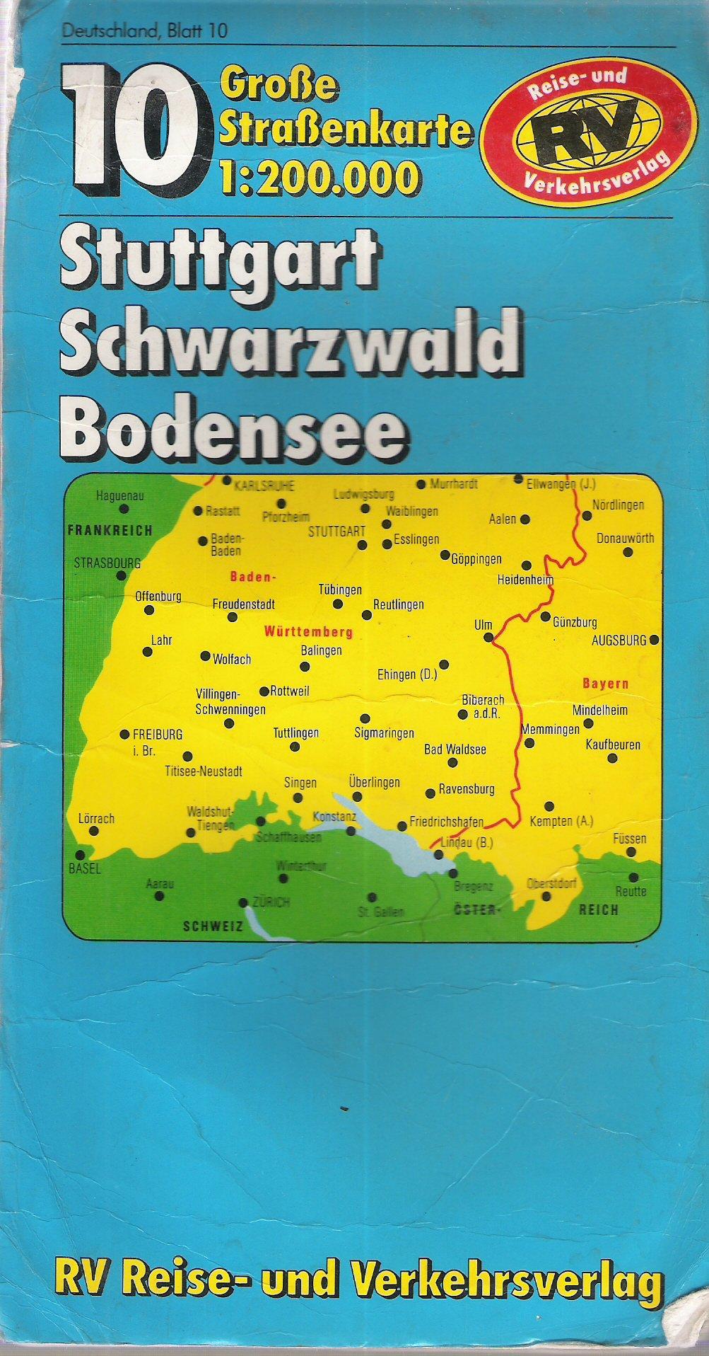 Stuttgart Schwarzwald Bodensee 1 200 000 Rv Karte 7225 288