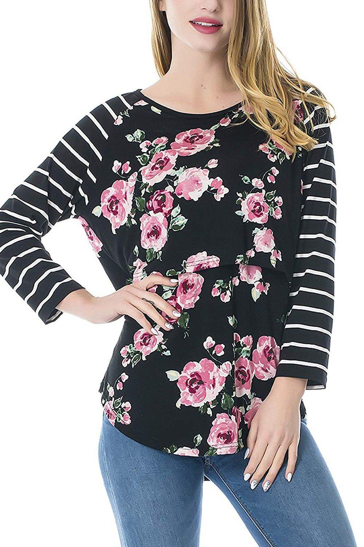 Elly Sily Women's Nursing Tops Breastfeeding Shirt Nursing Clothes (Black,M)