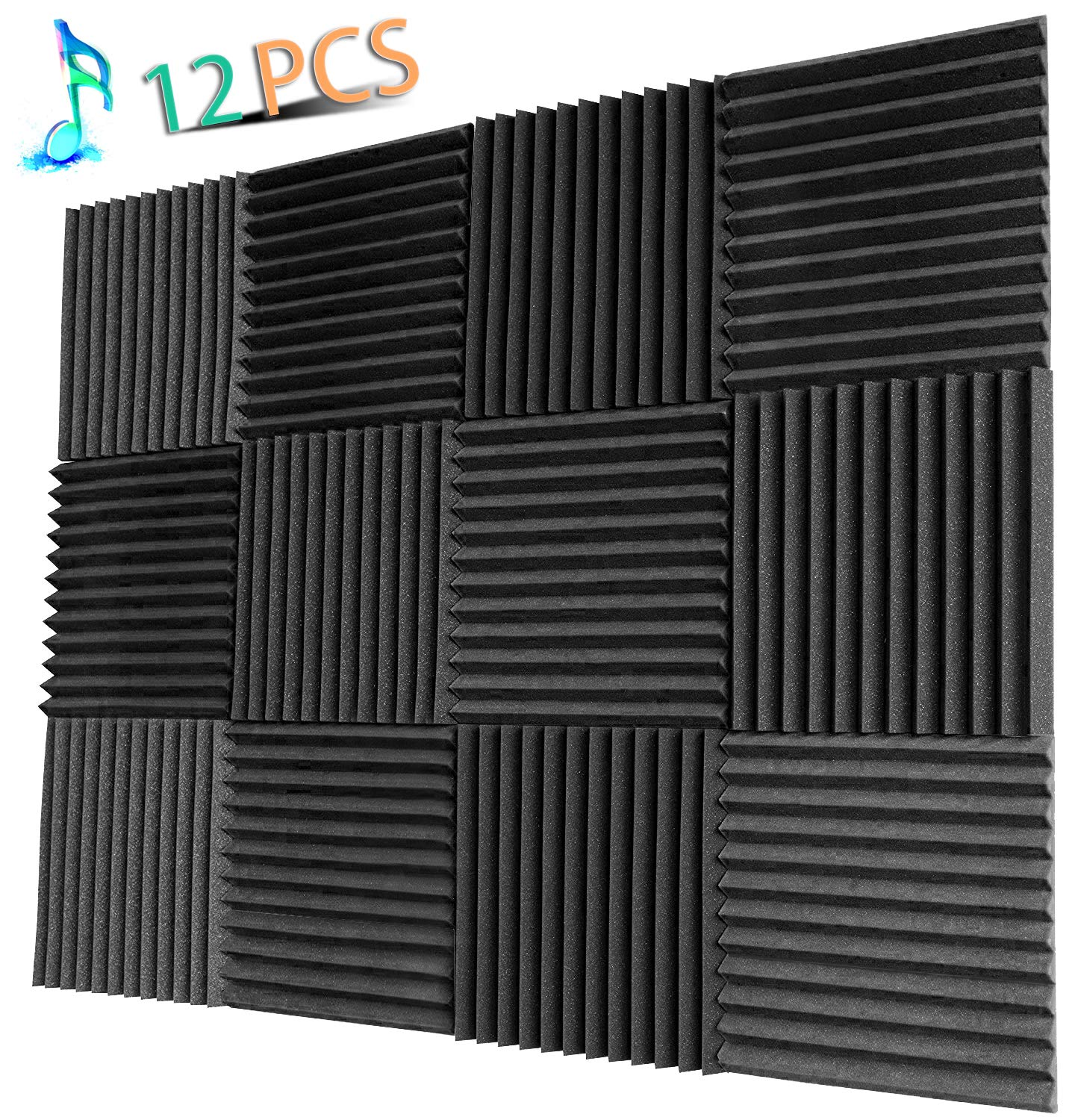 YWSHUF Acoustic Panels Studio Foam Soundproofing Foam Acoustical Treatments Foam 12 pack-12''12''1''(Charcoal-12 Pcs) by YWSHUF
