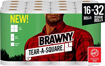 16-Pack Brawny Tear-A-Square Paper Towel (Quarter Size Sheets)
