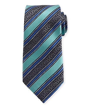 31fdea6c3e584 New Men's Ermenegildo Zegna Satin-Stripe Herringbone Blue Italian Silk Tie  at Amazon Men's Clothing store: