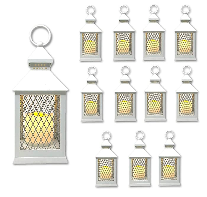 """The Nifty Nook Farm House Lanterns {12 Pc Set} 10"""" Decorative Lanterns with Flameless LED Lighted Candle, 5HR Timer, Weather Resistant - Decorative Outdoor Lanterns (White)"""
