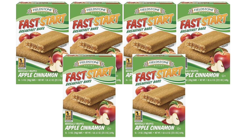 Fieldstone Bakery FastStart Apple Cinnamon Healthy Breakfast Bars, 6 Boxes, 96 Individually Wrapped Snacks