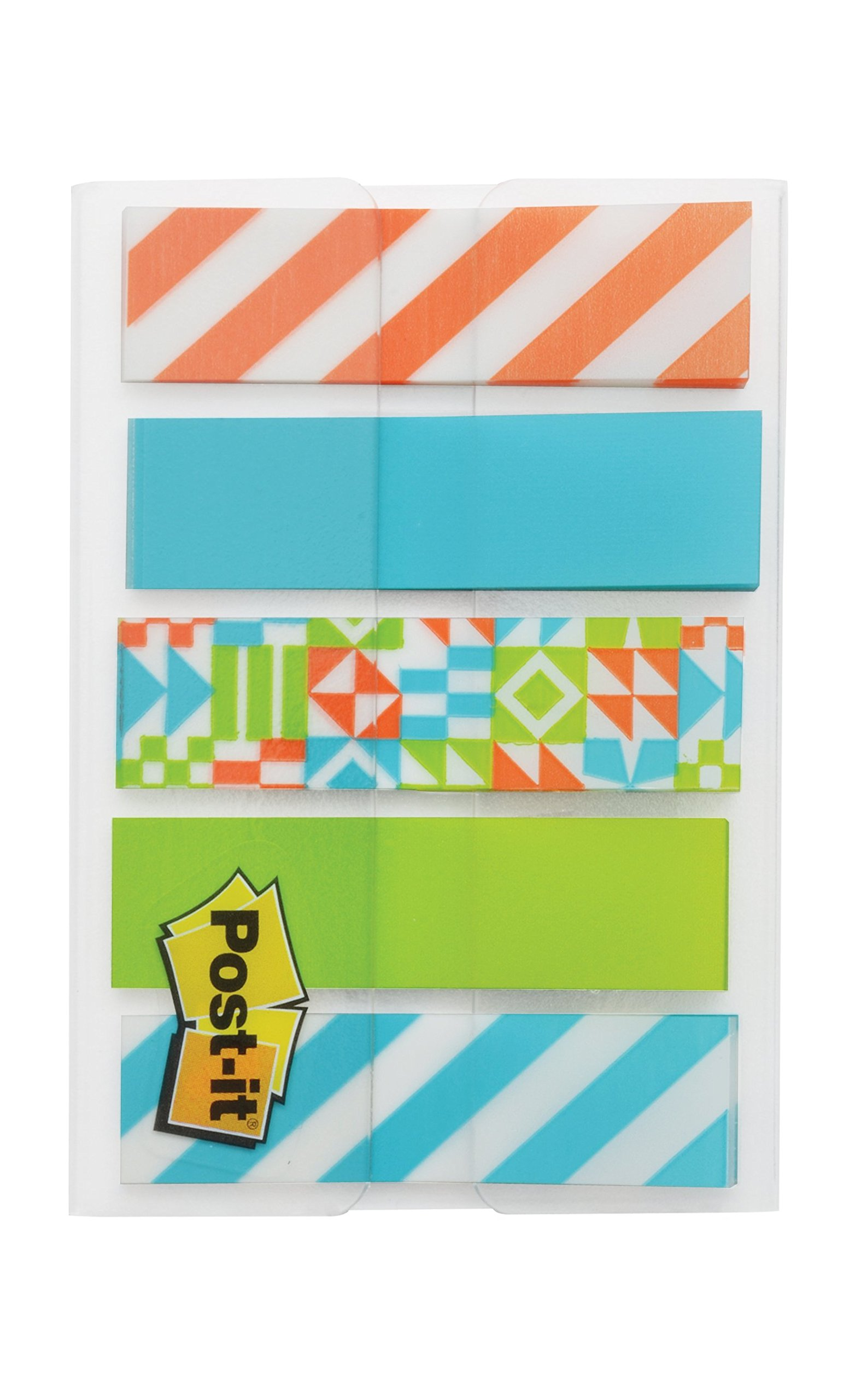 Post-it Pattern Flags, Geos Pattern Collection, 0.47 x 1.7 Inches, 100/On-the-Go Dispenser, 1 Dispenser/Pack (684-GEOS) by Post-it (Image #2)