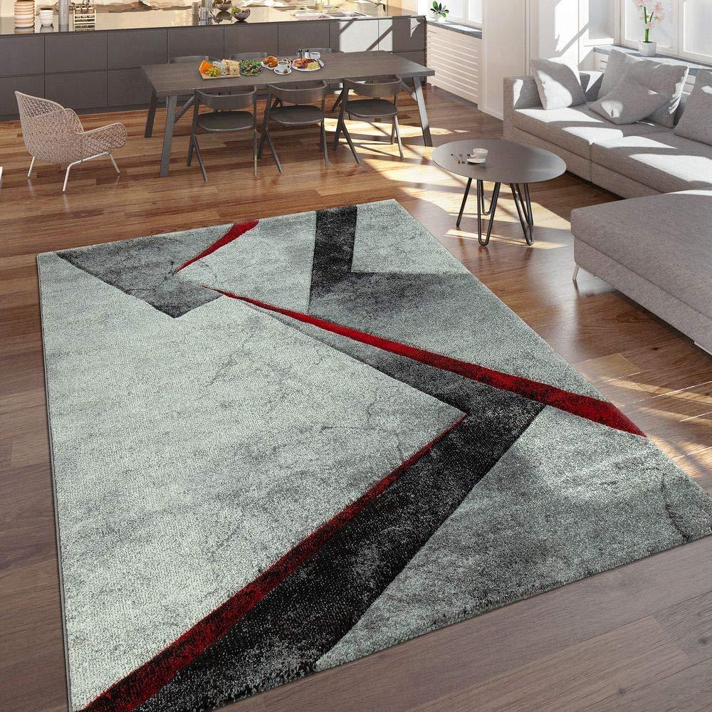 Paco Home Designer Teppich Moderner Kurzflor Marmor Optik Geomterische Muster Grau Rot, Grösse 200x290 cm