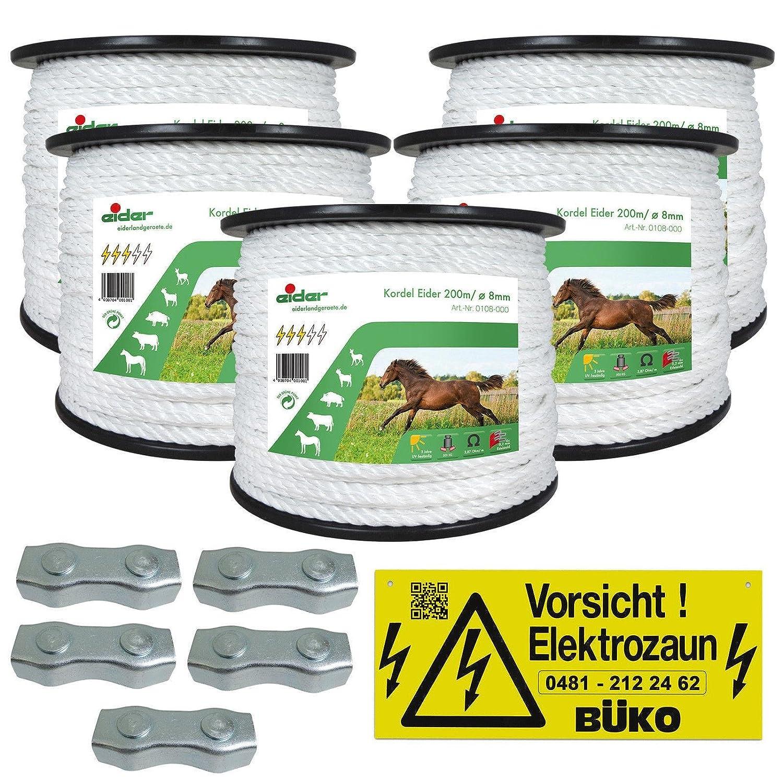 Weidezaunseil 8mm Sparpaket Elektrozaunseil für den Weidezaun l 8mm Kordel - gute Leitfähigkeit - 1000m lang