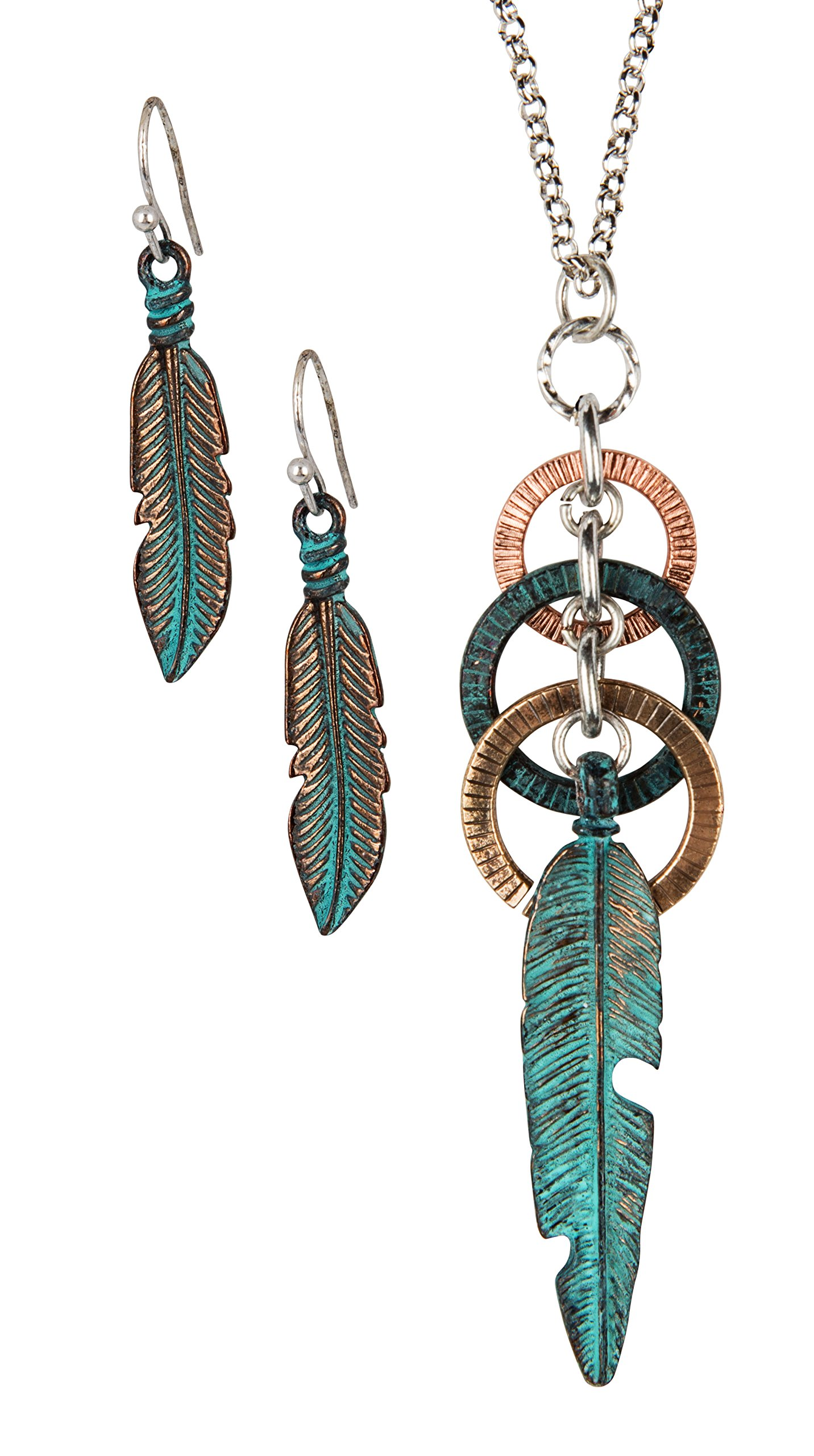 SPUNKYsoul Feather Circle Long Necklace for Women Collection (3 Toned Patina Copper) by SPUNKYsoul