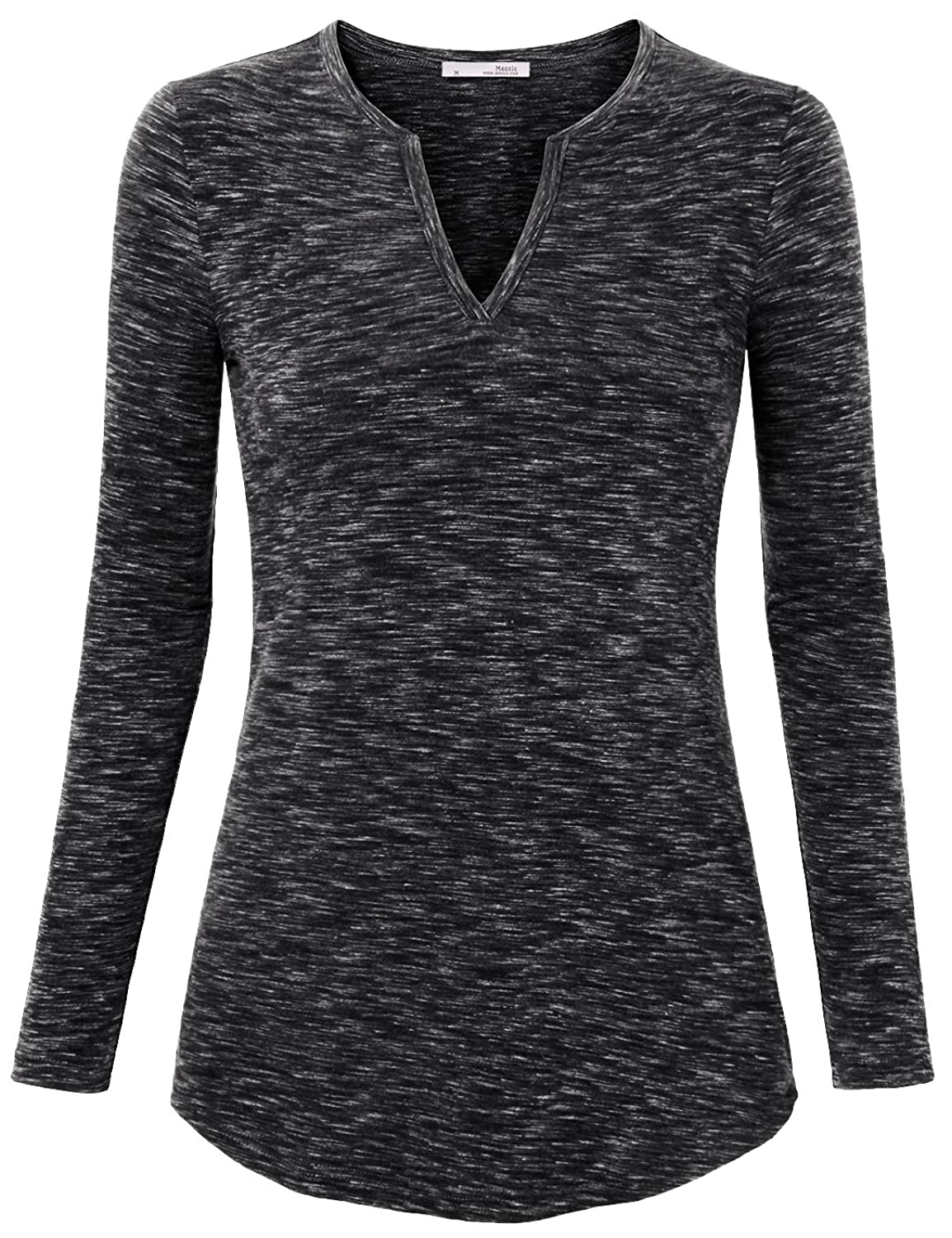 Messic Women's Basic Long Sleeve Notch V Neck Casual Knit Tee ...