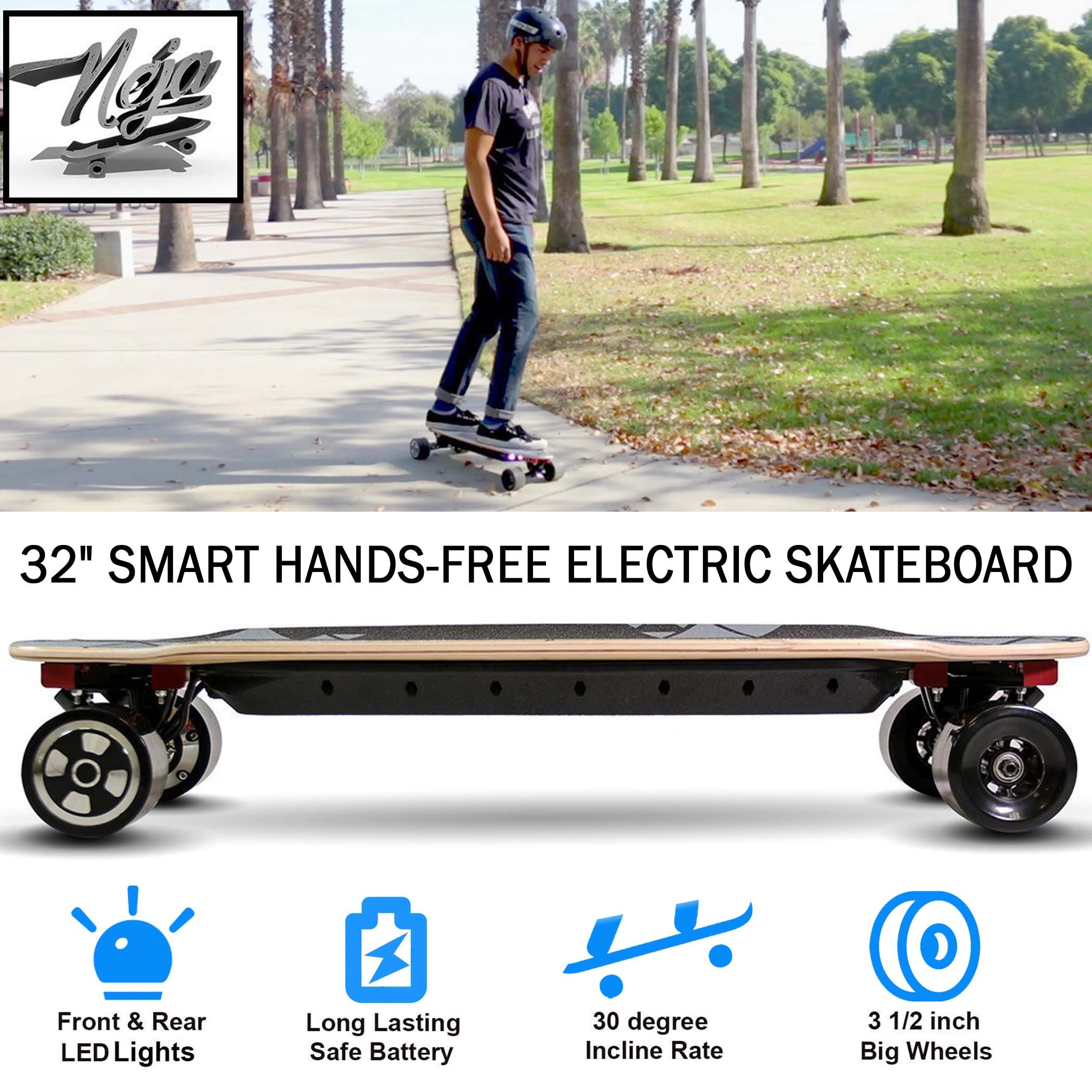 NEJA Self-Balancing Skateboard, Electric Skateboard, 32'' Electric Longboard - Motorized Skateboard with LED Light, NO REMOTE NEED by NEJA